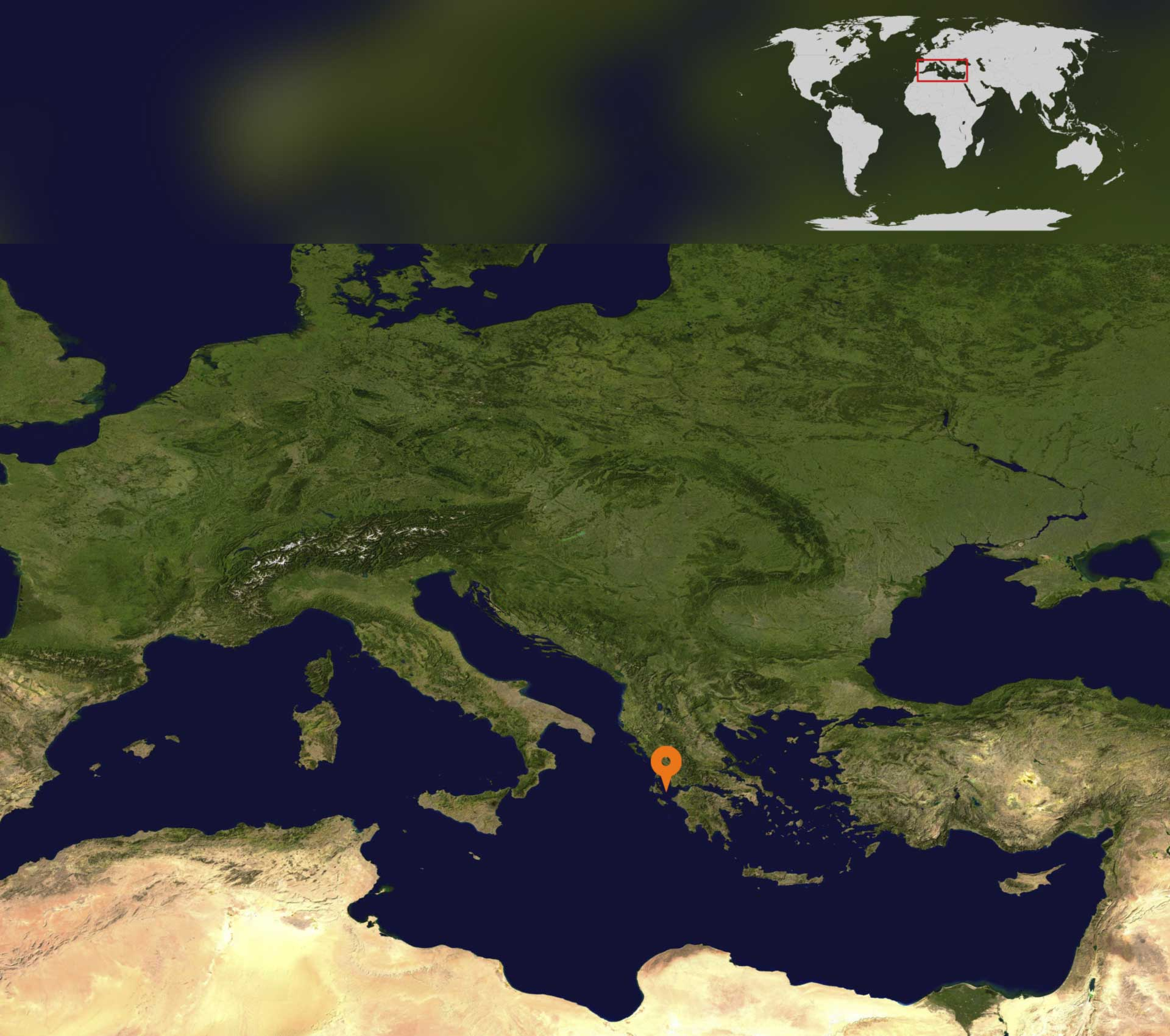 Mediterranean satellite map